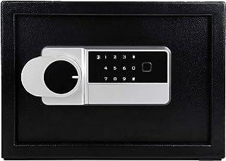LETTON *锁盒,数字和指纹锁,带钥匙锁,钢质*,家用*,用于存放珠宝现金贵重物品,*箱黑色 - 13.8 x 9.8 x 10 英寸