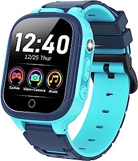 男孩女孩儿童智能手表 - 高清触摸屏手表 14 种游戏双摄像头音乐播放器视频计步器手电筒儿童学习玩具生日礼物适合 4-12 岁儿童(蓝色)
