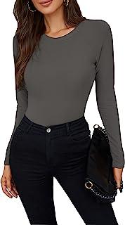 女式低圆领修身短袖 T 恤弹力纯色基本款 T 恤上衣