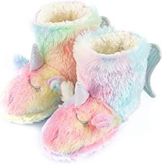 女孩可爱独角兽拖鞋幼儿儿童短靴温暖毛绒绒屋一脚蹬鞋