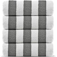 优质 * 土耳其棉 Cabana 厚条纹泳池沙滩巾,环保(4 件装,灰色)