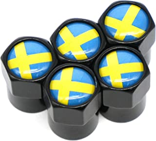 AutoE 5PCS 车轮轮胎阀盖 杆套 国旗 徽标 贴纸 汽车 摩托车 自行车配件 (瑞典)