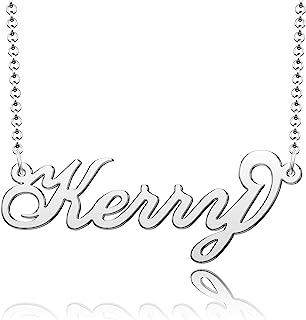 SexyMandala 个性化名字项链首字母项链定制标准纯银原始字体吊坠珠宝当日配送女性女孩礼物