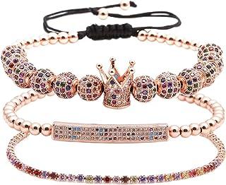 男女手链 - 男女皆宜的皇冠吊坠手链 - 男女皆宜的金色手链 - 3 件套美丽的吊坠手链。