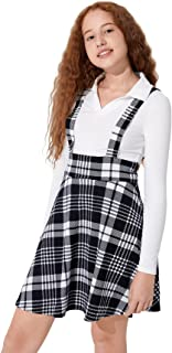 Floerns 女孩格子印花无袖高腰宽松短款连衣裙