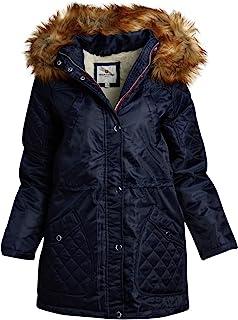 Urban Republic 女式冬季外套 - 中等重量斜纹派克大衣夹克,带可拆卸人造毛皮夏尔巴内衬兜帽