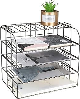 LEORISO 4 层可叠式信件托盘,深灰色桌面收纳架,金属文件整理托盘,纸架,学校家庭办公用品桌面配件