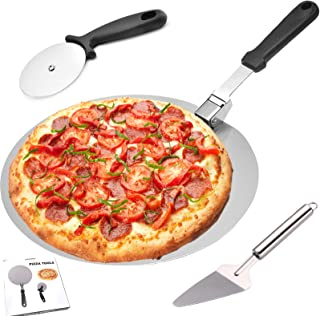 披萨皮,披萨桨,披萨皮,12 英寸,圆形披萨皮不锈钢披萨皮可折叠手柄和披萨刀轮和披萨铲,适合自制披萨爱好者