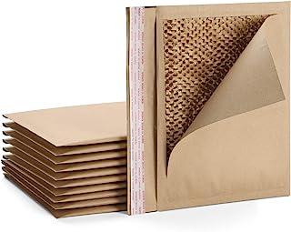 Fuxury #5 15x10.5 英寸天然蜂巢填充信封*,* 可循环生物降解牛皮纸纤维,缓冲保护加垫信封,10 件