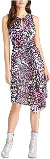 Rachel Roy 女式黑色系带印花无袖锁孔过膝修身 + 喇叭派对连衣裙 尺码 2