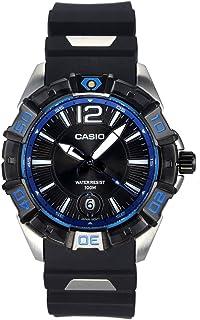 Casio Casio 男式 MTD1070-1A1V 黑色树脂石英手表带黑色表盘