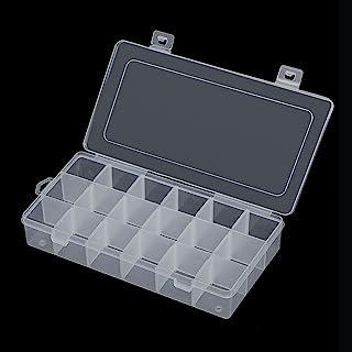Snowkingdom 18 个隔层塑料收纳盒 带可调节分隔网格储物盒 透明显示屏 适合耳环珠宝珠、缝纫、蘸料、工艺品小零件