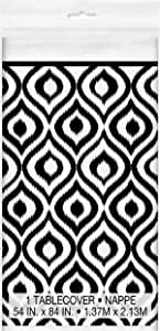 """Black and White Moroccan Ikat Plastic Tablecloth, 84"""" x 54"""""""