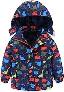 婴儿幼儿男孩恐龙羊毛内衬连帽外套,冬季保暖防雨风衣外套