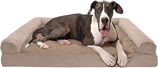 Furhaven 宠物狗床 – *泡沫超毛绒人造毛皮和麂皮传统沙发风格客厅沙发宠物床,带可拆卸枕套,适合狗狗和猫,杏仁,Jumbo Plus