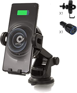 Ottoly 无线 Qi 快速充电器,车载手机支架带自动传感器夹紧、通风孔、挡风玻璃和仪表板适配器,适用于 iPhone 和 Android