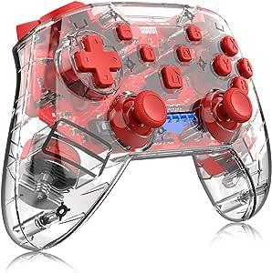 momen 无线开关控制器适用于 Nintendo 任天堂 Switch/Switch Lite 透明远程专业游戏操纵杆游戏手柄,适用于 6 轴陀螺仪双减震(红色)