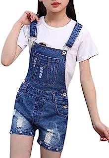 女童大童做旧 BF 牛仔裤棉质牛仔背带裤夏季连衣裤 1P