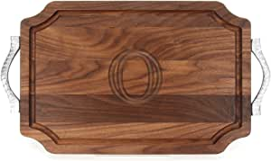 "CHUBBCO W310-RP-O Cutting Board with Rope Handle in Cast Aluminum with Scalloped Corners, 12-Inch by 18-Inch by 1-Inch, Monogrammed ""O"", Walnut"