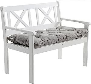 Ambientehome 实木长凳 花园长凳 EVJE 木质凳 1.08 米 包括座垫 白色 ca. 108 x 64 x 90 cm, Sitzhöhe: ca. 43 cm