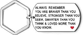 YONGHUI 励志词 Always Remember You Are Braver Than You Believe 银色金属狗牌钥匙圈钥匙扣圣诞节生日毕业礼物