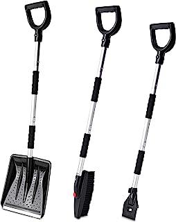 Zento Deals 雪铲套装,3 合 1 雪刷套件和冰刮器 - 紧急可折叠设计除雪器套装适用于汽车、卡车和户外。材质冰刮器,易于操作和使用