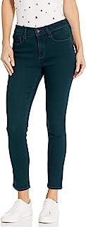 复古美国蓝女士高腰紧身九分裤,有环保面料