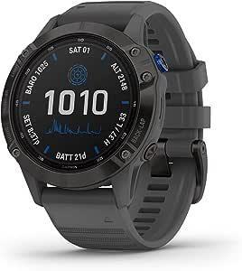 Garmin 佳明 fenix 6 Pro Solar 太阳能多运动GPS手表,高级培训功能和数据,黑色板岩灰带
