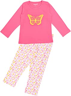 Funkrafts 女孩长袖全天/晚装连衣裙上衣和下装印花睡衣 - 粉色