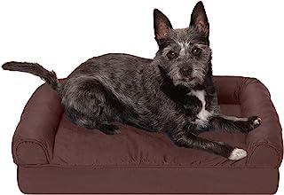 Furhaven 宠物狗床 – *绗缝传统沙发风格客厅沙发宠物床带可拆卸枕套,适用于狗和猫,咖啡,小号