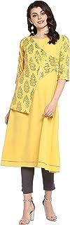 Janasya 印度女式黄色涤纶绉纱衬衫
