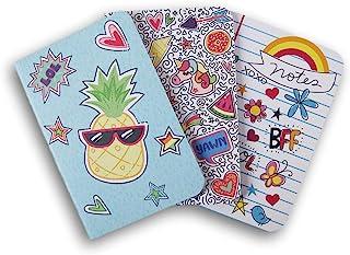 Artworks 迷你时尚装订封面日记本套装 - 每单 3 张 - 10.16 x 15.24 厘米/每张 40 张 White (Doodles, Donuts, Funky Pineapple)