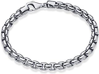 MiaBella 纯 925 纯银意大利 6.5 毫米方形 Rolo 链环 男式 19.05 厘米、20.32 厘米、21.59 厘米、22.86 厘米、22.86 厘米、22.86 厘米、22.86 厘米意大利制造