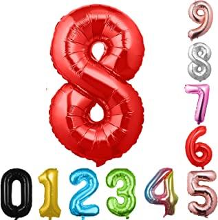 40 英寸大数字气球红色气球巨型氦气球 数字 0 1 2 3 4 5 6 7 8 9 生日周年纪念派对婴儿淋浴婚礼装饰节日气球(红色 8)