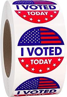 """""""I Voted Today"""" 1.5"""" 圆形,圆形投票标签自粘贴纸 红色、白色和蓝色 1-1/2 英寸,每卷超过 500 个标签"""