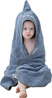 IDGIRLS 中性款婴儿棉质连帽毛巾柔软游泳沙滩浴袍 0-6T,35.4×35.4 厘米,鲨鱼图案