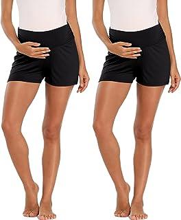 AMPOSH 女式孕妇短裤腹部弹性锻炼孕妇睡衣短裤