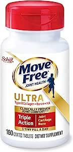 Move Free 益节 II型胶原蛋白,硼和HA超三合一片剂(每瓶160粒),每天只需服用1小粒,有益于软骨和机体