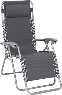 Greemotion 花园躺椅 Teramo 灰色太阳躺椅 可折叠折叠躺椅 头枕躺椅 适用于露营、沙滩、花园、露台和阳台,6.5 x 9.5 x 2.6 厘米