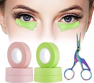 6 卷睫毛胶带,BILISTONE 睫毛胶带,自粘透气微孔织物胶带,睫毛延长带,眼下贴片,低*性,0.5 英寸,10 码