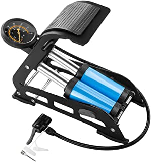 自行车泵,便携式双桶脚泵,自行车轮胎泵,带压力计和通用阀头,适用于汽车、摩托车、球、游泳圈和其他充气