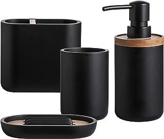 QL DESIGN 浴室配件套装,4 件套沐浴套装,包括肥皂分配器、盘子、玻璃杯、牙刷架、高品质合成树脂