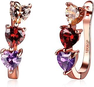 VONSSY 5A 方晶锆石心形 18k 镀金时尚耳环