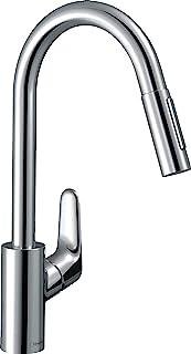hansgrohe 汉斯格雅 Focus 厨房龙头(无软管盒,150°可旋转,可抽出式出水嘴/带2种喷淋模式,240mm舒适出水高度,标准连接),镀铬