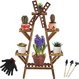字母 A 带风车高架植物架 室内室外植物架 4 层 7-9 花盆支架 多层花架 带轮子 适用于庭院花园角落阳台客厅