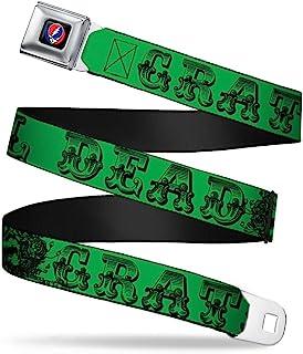 Buckle Down Boys' Text w/Skull & Roses Green Seatbelt Belt