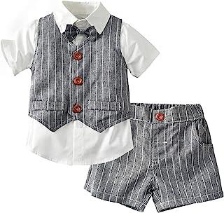夏季男孩衣服套装背心 + 裤子 + 衬衫 + 蝴蝶结 4 件套套装绅士婴儿正式礼服短裤套装