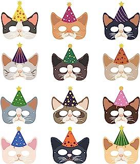 12 件猫生日面具,小猫面具,适合儿童生日派对用品,化妆定制猫纸面具,半面具带弹性绳
