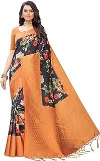 Siril 女式数码印花提花涤纶丝绸纱丽带未缝合衬衫