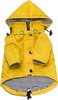 Ellie Dog Wear 黄色拉链狗狗雨衣反光纽扣,口袋,防水/可调节拉绳,可拆卸连帽衫 - 超小到超大 - 时尚狗狗雨衣 黄色 S